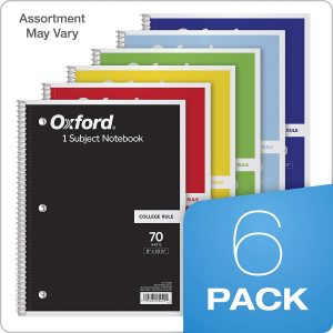 Subject Notebooks, 8″ x 10-1/2″, College Rule, 70 Sheets, 6 Pack, Color Assortment May Vary