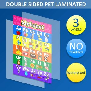 10 Pieces Educational Math Posters for Kids with Glue Point Dot