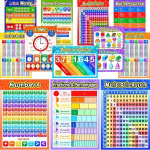 12 Pieces Educational Math Posters for Kids with 80 Glue Point Dot