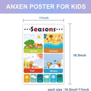 12 Pcs Educational Preschool Posters for Kids Toddlers with Glue point dot