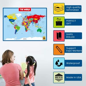 World Map/United State Wall Chart Poster for Kids