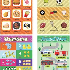 22 Pack Educational Preschool Poster with 100 Pieces Glue Point Dot