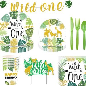 Wild One Party Supplies, YimaiX 114 Pack Wild One Disposable Tableware with Wild One Plates Cups Napkins Banner Cake Topper Serves 16 for Wild One Baby Showers First Birthday Decorations